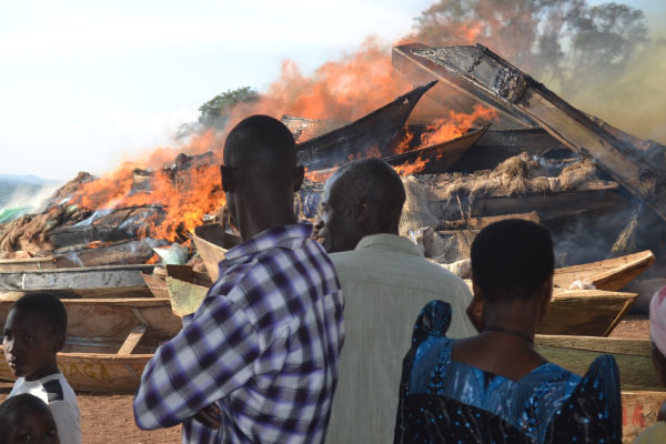 Fisheries Protection Unit Burn 500 Undersized and Unlicensed Boats in Amolatar,